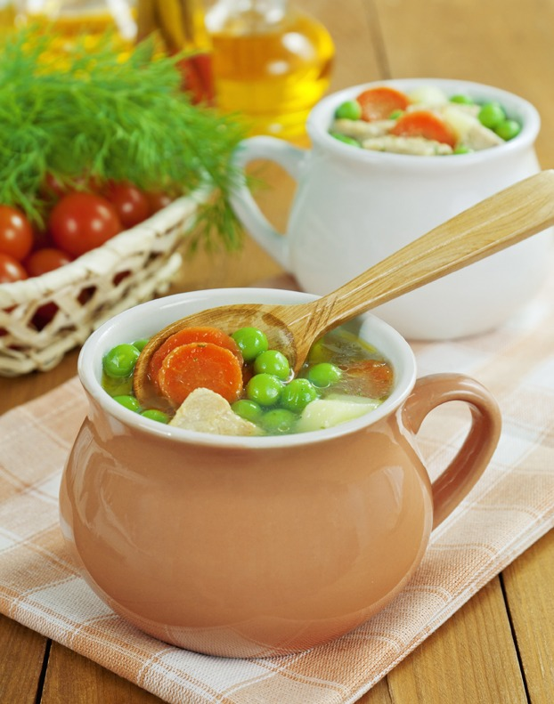 Soup with meat and green peas