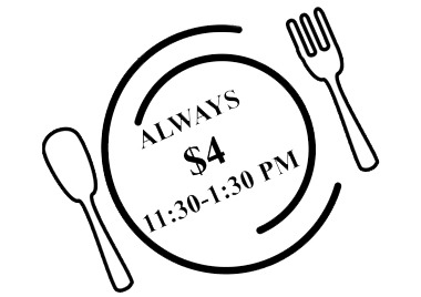 plate with knife and fork showing lunch price and time