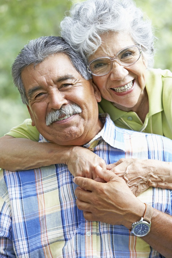 Portrait of a senior couple hugging