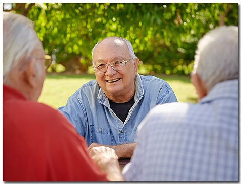senior men sitting at picnic table