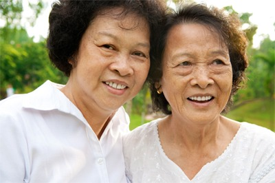 older happy asian women