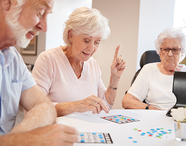 group of seniors playing bingo